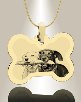 Bone Photo Engraved Gold Plated Pet Keepsake
