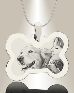 Bone Photo Engraved Silver Pet Keepsake