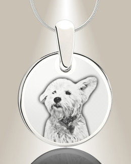 Round Picture Engraved Stainless Pet Keepsake