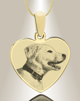 Heart Photo Engraved Gold Plated over Stainless Pet Keepsake