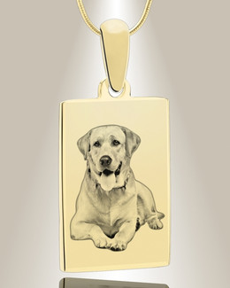 Rectangle Photo Engraved Gold Plated over Stainless Pet Keepsake