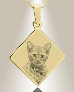 Diamond Photo Engraved Gold Plated over Stainless Pet Keepsake