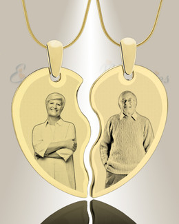Double Picture Engraved Heart Gold Plated Pendant