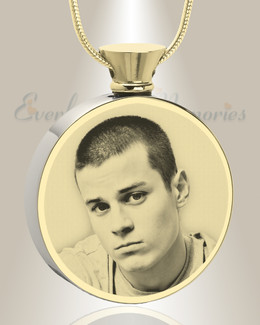 Round Gold Plated Photo Engraved Ash Pendant