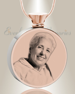 Round Rose Gold Plated Photo Engraved Ash Pendant