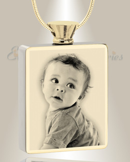 Rectangle Gold Plated Photo Engraved Ash Pendant