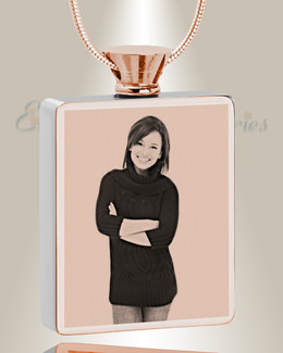 Rectangle Rose Gold Plated Photo Engraved Ash Pendant