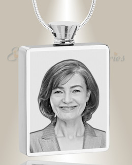 Rectangle Stainless Steel  Photo Engraved Ash Pendant