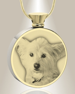 Round Gold Plated Photo Engraved Pet Ash Pendant