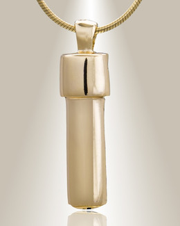 Gold Plated Simple Cylinder Cremation Jewelry