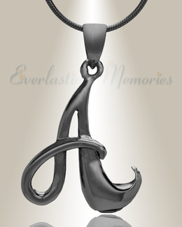 "Black ""A"" Initial Cremation Jewelry"
