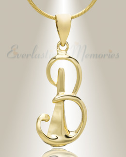 "Gold ""B"" Initial Cremation Jewelry"