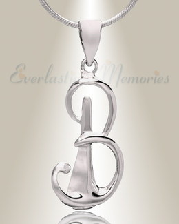 "Silver ""B"" Initial Cremation Jewelry"