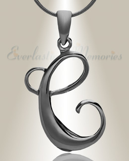 "Black ""C"" Initial Cremation Jewelry"