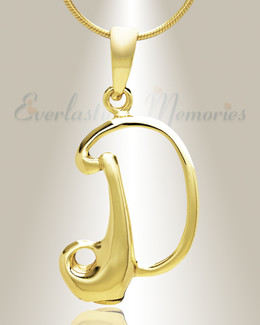 "Gold ""D"" Initial Cremation Jewelry"
