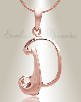 "Rose Gold ""D"" Initial Cremation Jewelry"