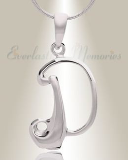 "Silver ""D"" Initial Cremation Jewelry"