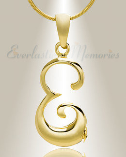 "Gold ""E"" Initial Cremation Jewelry"