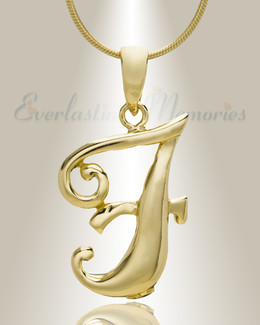 "Gold ""F"" Initial Cremation Jewelry"