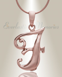 "Rose Gold ""F"" Initial Cremation Jewelry"