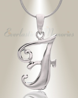 "Silver ""F"" Initial Cremation Jewelry"
