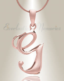 "Rose Gold ""G"" Initial Cremation Jewelry"