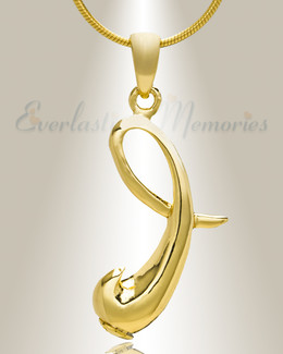 "Gold ""I"" Initial Cremation Jewelry"