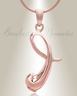 "Rose Gold ""I"" Initial Cremation Jewelry"