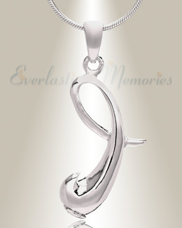 "Silver ""I"" Initial Cremation Jewelry"