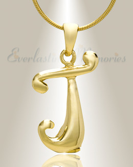 "Gold ""J"" Initial Cremation Jewelry"