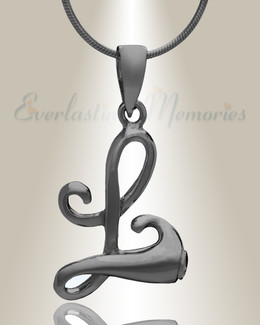 "Black ""L"" Initial Cremation Jewelry"