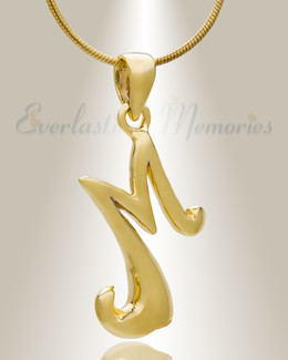 "Gold ""M"" Initial Cremation Jewelry"