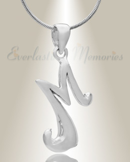 "Silver ""M"" Initial Cremation Jewelry"