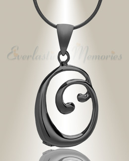 """Black """"O"""" Initial Cremation Jewelry"""