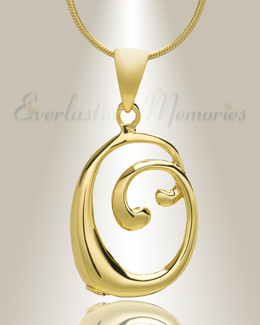 "Gold ""O"" Initial Cremation Jewelry"