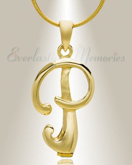 """Gold """"P"""" Initial Cremation Jewelry"""