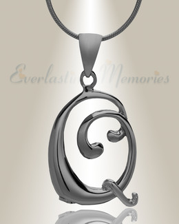 "Black ""Q"" Initial Cremation Jewelry"