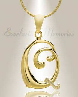 "Gold ""Q"" Initial Cremation Jewelry"