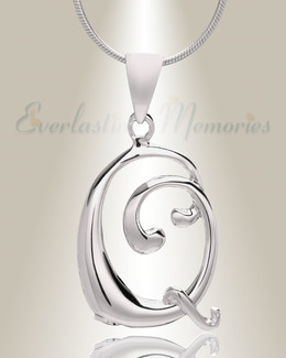 """Silver """"Q"""" Initial Cremation Jewelry"""