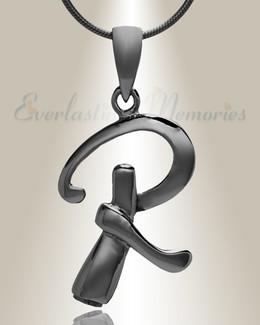 "Black ""R"" Initial Cremation Jewelry"
