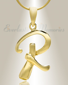 "Gold ""R"" Initial Cremation Jewelry"