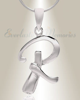 "Silver ""R"" Initial Cremation Jewelry"