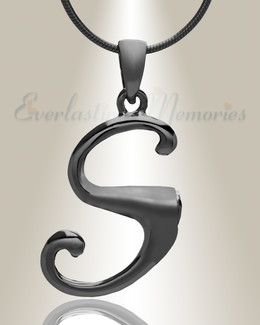 """Black """"S"""" Initial Cremation Jewelry"""
