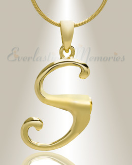 """Gold """"S"""" Initial Cremation Jewelry"""