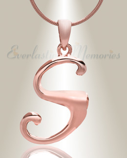 "Rose Gold ""S"" Initial Cremation Jewelry"