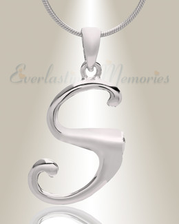 "Silver ""S"" Initial Cremation Jewelry"