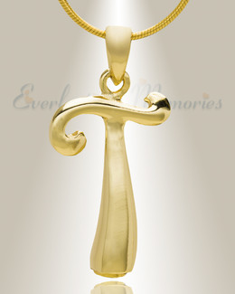 "Gold ""T"" Initial Cremation Jewelry"