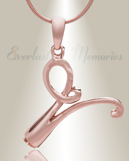 "Rose Gold ""V"" Initial Cremation Jewelry"