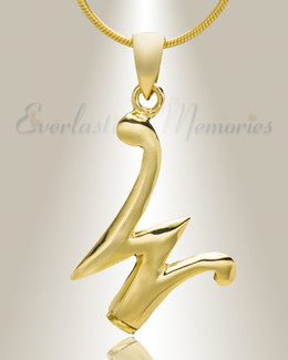 "Gold ""W"" Initial Cremation Jewelry"