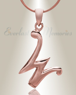"""Rose Gold """"W"""" Initial Cremation Jewelry"""